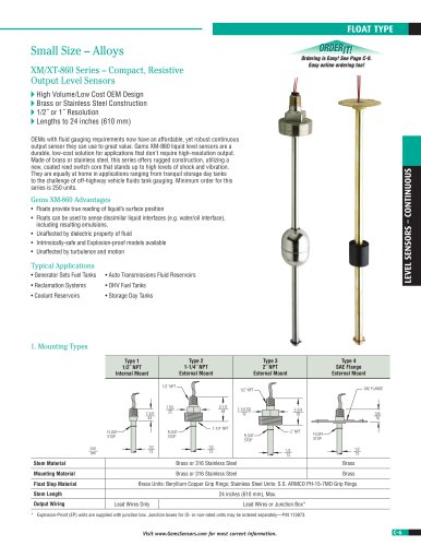 XM-XT 860 Series Small Size Continuous Level Transmitter