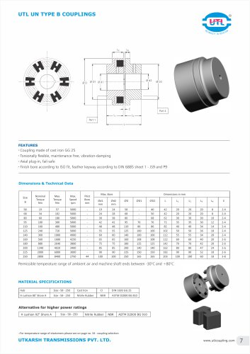 UTL UN TYPE B COUPLINGS