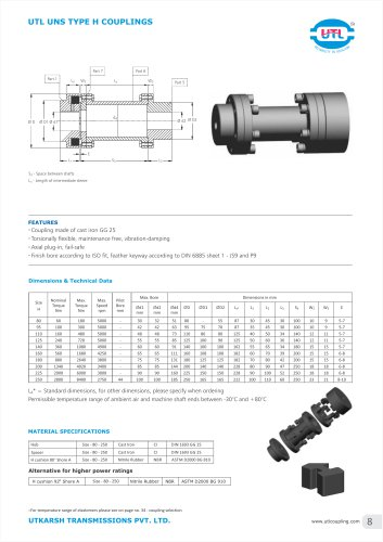 UTL UNS TYPE H COUPLINGS