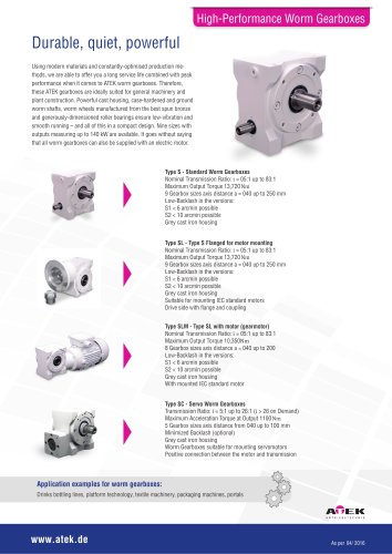 High-Performance Worm Gearboxes