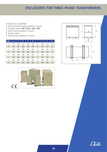 ENCLOSURES FOR THREE-PHASE TRANSFORMERS