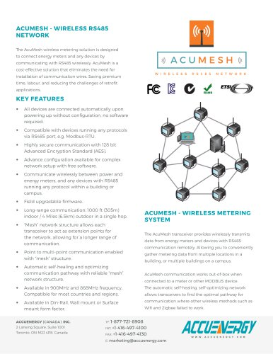 Wireless RS485 Transceiver - Accuenergy Canada Inc  - PDF Catalogs
