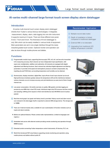 Yudian Paperless Recorder AI-3502M/AI-3504M/AI-3506M/AI-3702M/AI-3704M/AI-3706M/AI-3902M/AI-3904M/AI-3906M