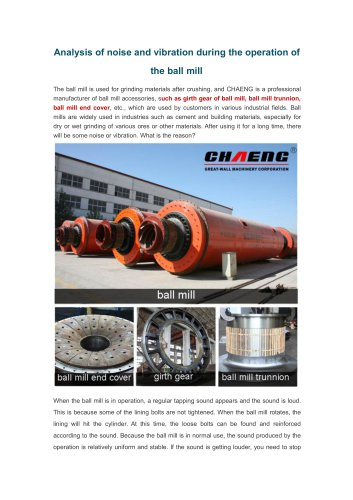 Analysis of noise and vibration during the operation of the ball mill