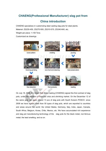 CHAENG(Professional Manufacturer) slag pot from China introduction