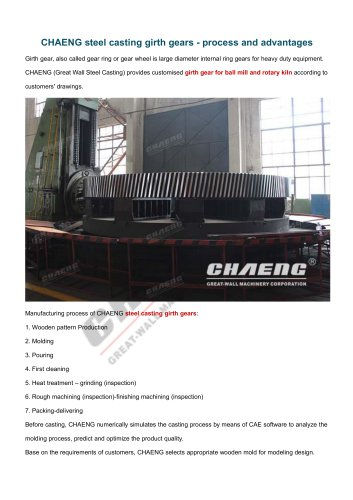 CHAENG steel casting girth gears - process and advantages