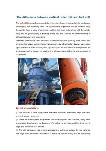 The difference between vertical roller mill and ball mill