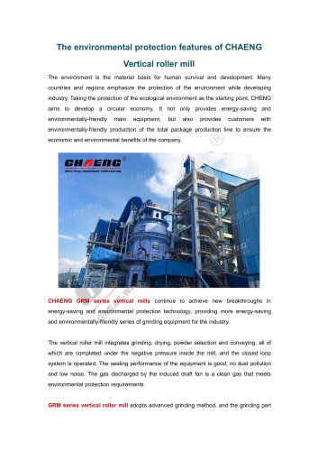 The environmental protection features of CHAENG Vertical roller mill
