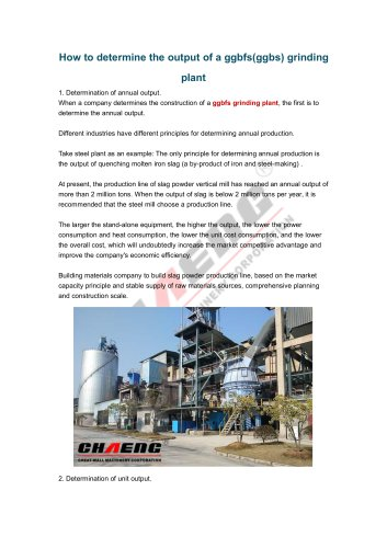 How to determine the output of a ggbfs(ggbs) grinding plant