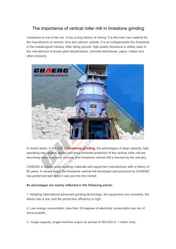 The importance of vertical roller mill in limestone grinding