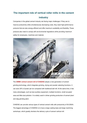 The important role of vertical roller mills in the cement industry
