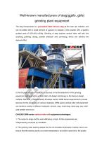 Well-known manufacturers of slag(ggbfs,gbfs) grinding plant equipment