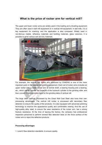 What is the price of rocker arm for vertical mill?