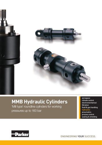 MMB Hydraulic Cylinders, 'Mill Type' roundline cylinders for working pressures up to 160 bar