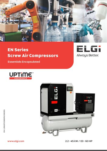 EN SERIES SCREW AIR COMPRESSORS 2.2-45 kW