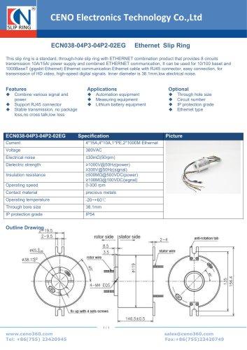 CENO 1000M Ethernet slip ring ECN038-04P3-04P2-02EG