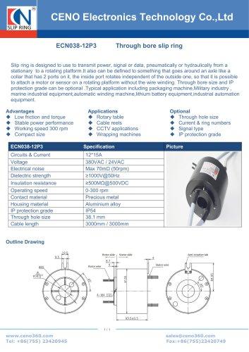 CENO 12 circuits 15Amp hollow shaft slip rings ECN038-12P3