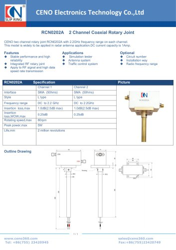 CENO 2 Channel Coaxial Rotary Joint RCN0202A