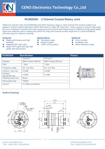 CENO 2 Channel Coaxial Rotary Joint RCN0205A