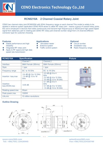 CENO 2 Channel Coaxial Rotary Joint RCN0218A