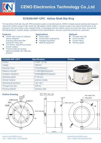 CENO 200mm hole Hollow shaft slip ring ECN200-04P-12P2