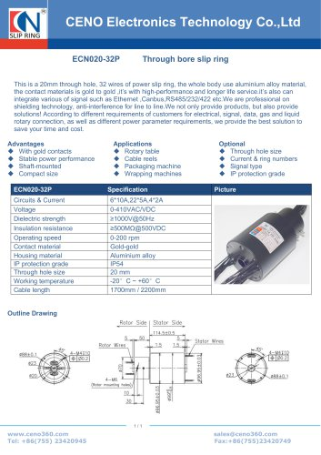 CENO 20mm through bore slip ring ECN020-32P