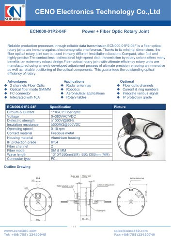 CENO 4 Channel Fiber optic rotary joint combine power slip rings ECN000-01P2-04F
