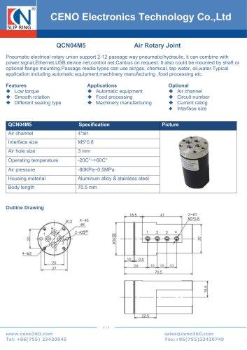 CENO 4 Channel Pneumatic rotary union QCN04M5