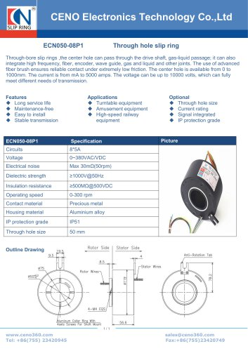 CENO 50mm through bore slip ring ECN050-08P1