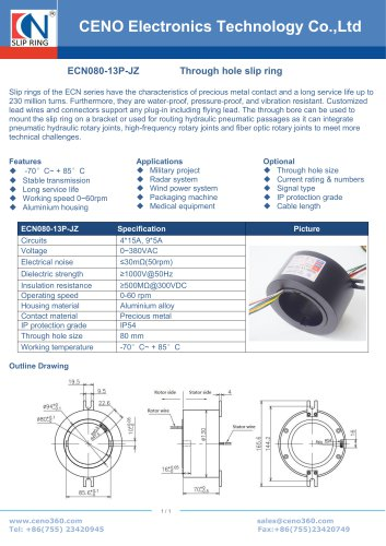 CENO Airborne antenna slip ring ECN080-13P-JZ