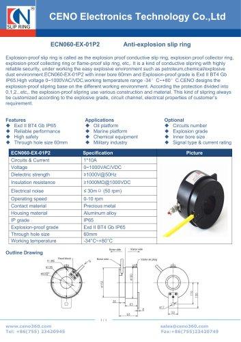 CENO ATEX slip ring with 60mm through hole ECN060-EX-01P2