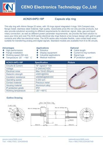 CENO Capsule slip rings with 25mm diameter ACN25-04P2-18P