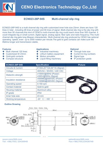 CENO Customized hollow shaft slip ring ECN023-26P-94S
