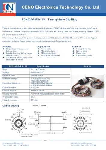 CENO ECN038-24P3-12S Hollow shaft slip ring