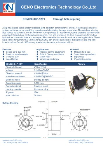 CENO Electrical slip ring with through bore 38mm ECN038-04P-12P1