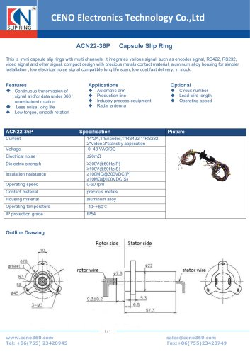 CENO encoder slip ring with 36 channel ACN22-36P