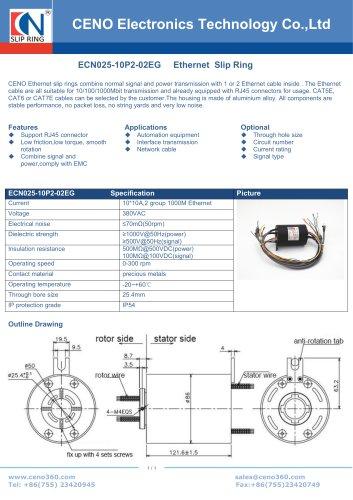 CENO Ethercat slip ring ECN025-10P2-02EG