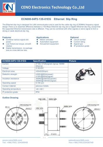 CENO Ethernet slip ring 1000Mbps ECN000-04P2-13S-01EG