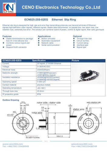 CENO Ethernet slip ring with 25.4mm hole ECN025-25S-02EG