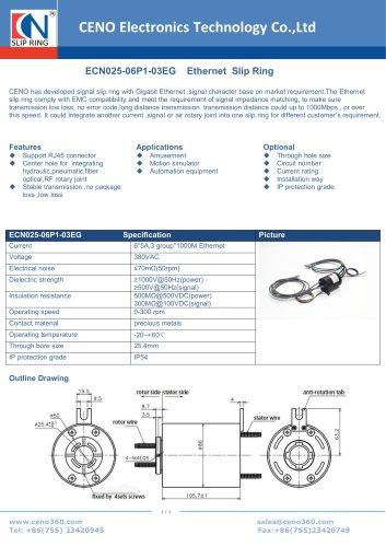 CENO Ethernet slip ring with hole 25.4mm ECN025-06P1-03EG