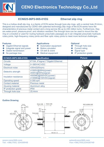 CENO Ethernet swivel 25.4mm bore ECN025-06P2-06S-01EG