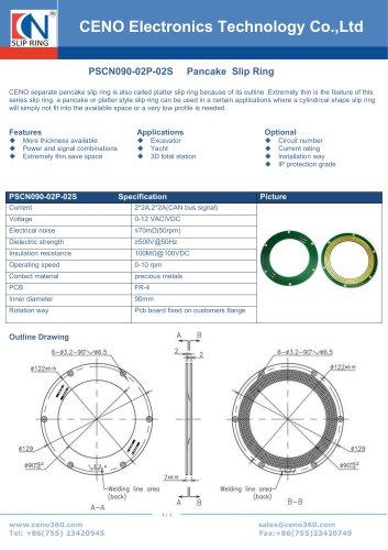 CENO Excavator PCB slip ring PSCN090-02P-02S