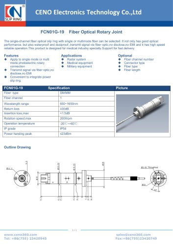 CENO Fiber optic rotary joint with 19 channel FCN01G-19