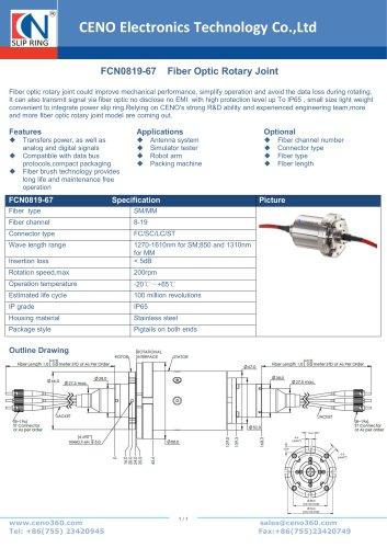 CENO Fiber optic rotary joint FCN0819-67