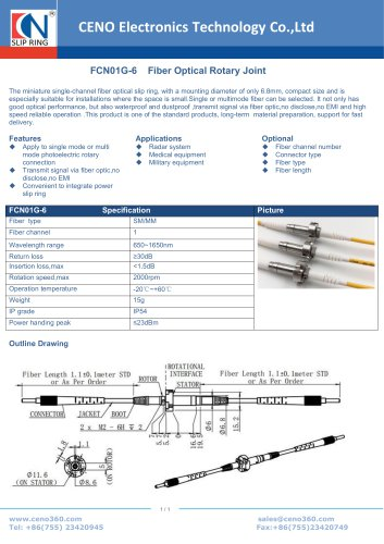 CENO Fiber Optical Rotary joint single channel FCN01G-6