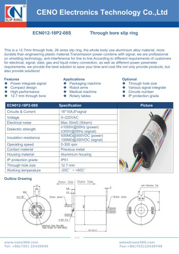 CENO Hollow shaft rotary joint 12.7mm hole ECN012-18P2-08S
