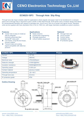 CENO Hollow shaft slip ring with 18 channel ECN025-18P3
