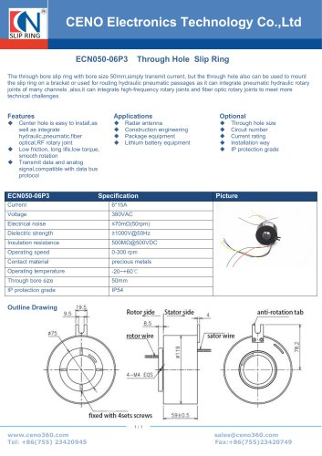 CENO Hollow shaft slip ring ECN050-06P3