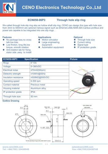 CENO Hollow shaft slip ring ECN050-06P3 fit for 50mm shaft