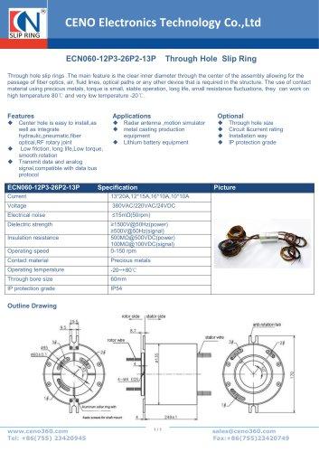 CENO Hollow shaft slip ring ECN060-12P3-26P2-13P